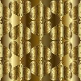 Gold 3d textured Baroque seamless pattern. Vector golden drapery. Floral  background. Tiled surface ornaments. Ornate luxury vintage design. Rich 3d  texture Stock Images