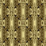 Gold 3d textured floral seamless pattern. Ornamental golden back. Ground. Vintage modern hand drawn ornament with abstract 3d flowers, leaves, shapes, stripes royalty free illustration