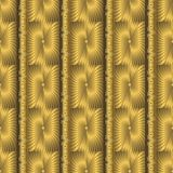 Gold 3d textured greek key meanders seamless pattern. Vector orn. Amental geometric golden background. Surface ttxture. Vertical stripes, borders, radial shapes stock illustration