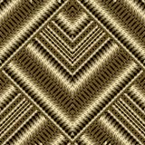 Gold 3d textured striped seamless pattern. Embroidered geometric vector background. Surface decorative grunge texture with stripes, zigzag, borders, tiled Royalty Free Stock Photo