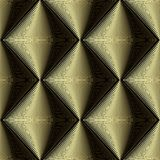 Gold 3d textured vector seamless pattern. Abstract geometric surface background. Striped tiled rhombus, wave lines, curves. stock illustration