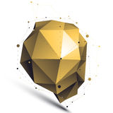 Gold 3D vector abstract design object, polygonal complicated fig. Ure with lines mesh on white background Stock Illustration