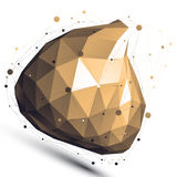 Gold 3D vector abstract design object, polygonal. Complicated figure with lines mesh on white background stock illustration
