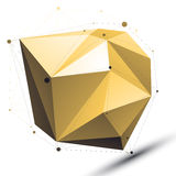 Gold 3D vector abstract technology illustration, perspective geo Stock Image