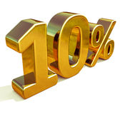 Gold 3d 10 zehn Prozent-Rabatt-Zeichen Stock Abbildung