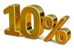 Gold 3d 10 zehn Prozent-Rabatt-Zeichen Vektor Abbildung