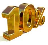 Gold 3d 10 zehn Prozent-Rabatt-Zeichen Lizenzfreie Abbildung