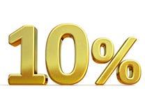 Gold 3d 10 zehn Prozent-Rabatt-Zeichen Lizenzfreie Stockfotos