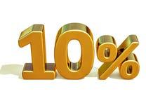 Gold 3d 10 zehn Prozent-Rabatt-Zeichen Stockfotografie