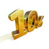 Gold 3d 10 zehn Prozent-Rabatt-Zeichen Stockbild