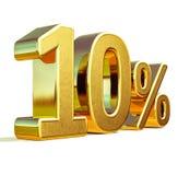 Gold 3d 10 zehn Prozent-Rabatt-Zeichen Lizenzfreies Stockfoto