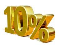 Gold 3d 10 zehn Prozent-Rabatt-Zeichen Lizenzfreies Stockbild