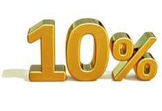 Gold 3d 10 zehn Prozent-Rabatt-Zeichen Lizenzfreie Stockbilder