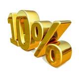 Gold 3d 10 zehn Prozent-Rabatt-Zeichen Lizenzfreie Stockfotografie