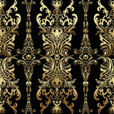Gold damask floral seamless pattern with arabesque, oriental ornament, luxury design.. Abstract traditional decor for backgrounds with natural motifs, wallpaper Royalty Free Stock Photography