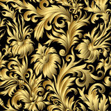 Gold damask ornaments seamless. Gold damask ornaments. Floral hand draw doodle ornament. Page, web royal decoration on black background in vintage style. Vector Royalty Free Stock Photography