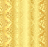 Gold damask pattern with vintage floral ornament royalty free illustration