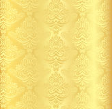 Gold damask pattern with vintage floral ornament Stock Photos