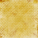 Gold Damask Print. Gold background with Damask print and grunge texture Stock Photography