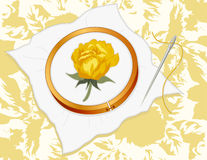 Gold Damask Rose Embroidery Royalty Free Stock Image