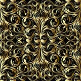 Gold damask seamless pattern. Floral hand drawn damask seamless pattern. Vector black background wallpaper illustration with gold vintage paisley flowers, swirl royalty free illustration