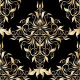Gold damask seamless pattern. Vector floral black background wit. H vintage golden hand drawn flowers, leaves, swirls, curves, line art tracery renaissance style stock illustration