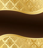 Gold Damask Vector Background with Copyspace Stock Photo