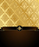 Gold Damask Vector Background with Copyspace Stock Photography