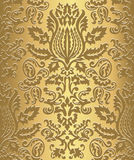 Gold Damask Wallpaper Pattern Stock Photography