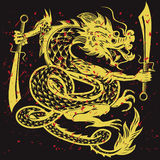 Gold Dancing Dragon Royalty Free Stock Photography
