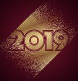 Gold and dark red 2019 new year design with confetti royalty free illustration