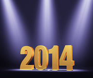 Presenting The New Year, 2014. Gold 2014 on dark stage, brightly illuminated by three blue tinted spotlights Vector Illustration