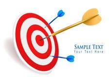 Gold dart hitting a target. Success concept. Vector illustration Stock Photography