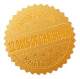 Gold 12 DAYS OF CHRISTMAS Medal Stamp. 12 DAYS OF CHRISTMAS gold stamp seal. Vector gold medal of 12 DAYS OF CHRISTMAS text. Text labels are placed between Royalty Free Illustration