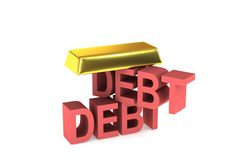 Gold  and debt. The gold brick is supported by debt Royalty Free Stock Image