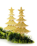 Gold decorated Christmas trees and holiday object Stock Photo
