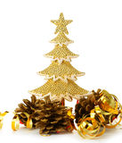 Gold decorated Christmas trees and holiday object Royalty Free Stock Photography