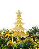 Gold decorated Christmas trees and holiday object Stock Images