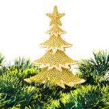 Gold decorated Christmas trees and holiday object Stock Image