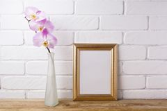 Gold decorated frame mockup with tender pink orchid. In the elegant glass vase. Empty frame mock up for presentation artwork. Template framing for modern art Stock Photo