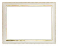 Gold decorated white wide wooden picture frame Royalty Free Stock Photos