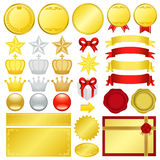 Gold decoration. Set of golden ranking decoration.  Vector illustration Stock Photos