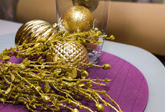 Gold decoration, balls on New Year, Christmas with small gift on Stock Photo