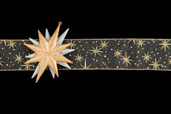 Gold decoration ribbon with stars Stock Images