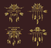 Gold decoration of tribal style with motivate quote . Royalty Free Stock Photography