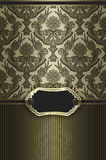 Gold decorative background with frame and ornament. Royalty Free Stock Images