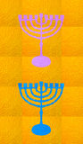 Gold decorative background. Vertical format for Smart phone. Yellow candelabrum, Hanukkah on yellow background. Vertical format for Smart phone. Digital royalty free illustration