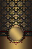 Gold decorative background with vintage frame. stock photos