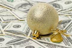 Gold decorative ball and bell Royalty Free Stock Photography