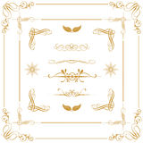 Gold decorative  elements. Vector set of gold decorative horizontal floral elements, corners, borders, frame, crown. Page decoration Stock Photography